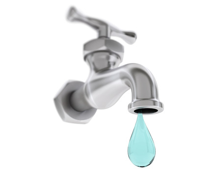 cleanness: Water Tap with Drop on a white background