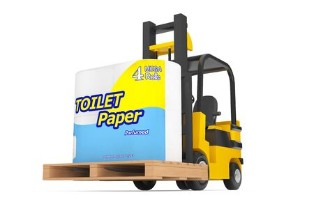 waste heap: Loader Lift Toilet Paper Package on a white background