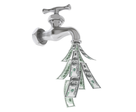 worthless: Dollar Bills Coming Out From Water Tap on a white background Stock Photo