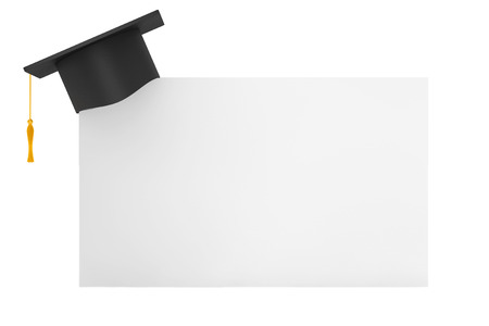 examiert: Graduation Academic Cap with Blank Paper on a white background