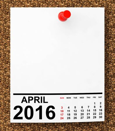 note paper: Calendar April 2016 on blank note paper with free space for your text