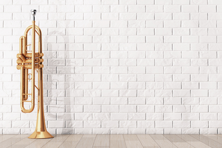 trumpet: Polished Brass Trumpet in front of brick wall