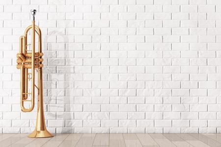 trompeta: Trompeta, latón pulido delante de la pared de ladrillo