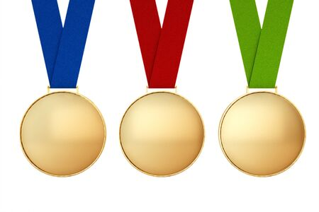 accomplishments: Blank Gold Medasl with Multicolour Ribbons on a white background