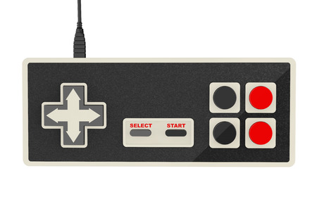 joy pad: Retro Abstract Game Controller on a white background Stock Photo