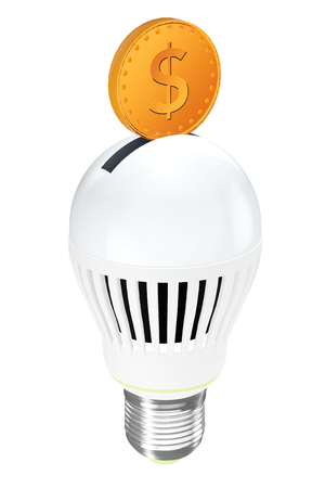 vitreous: Energy Saving Concept. Led Bulb with Golden Coin on a white background