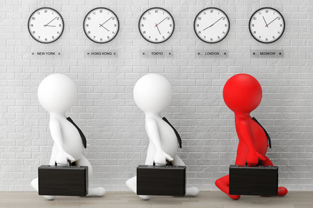 time zone: 3d Businessmans running with a Briefcase in front of Time Zone Clocks and brick wall Stock Photo
