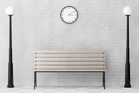 timber bench seat: Wooden Bench and Street Lamps against white brick wall with Modern Clock extreme closeup