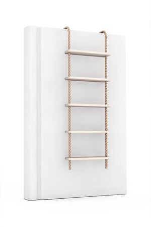 rope ladder: White Blank Book with Rope Ladder on a white background