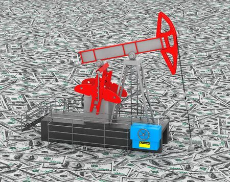 oilwell: Oil Jack Pump stands over heap of money extreme closeup