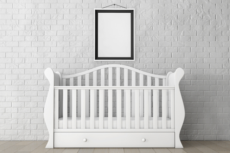 kidsroom: Baby Bed with Blank Photo Frame in front of Brick Wall. 3d rendering Stock Photo