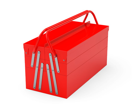 toolbox: Red Metal Toolbox on a white background