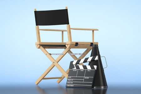 blockbuster: Director Chair, Movie Clapper and Megaphone on a blue background Stock Photo