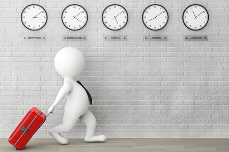 time zone: 3d Person running with a Suitcase in front of Time Zone Clocks and brick wall Stock Photo