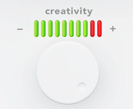contemplation: Control Knob with Creativity Progress Scale extreme closeup