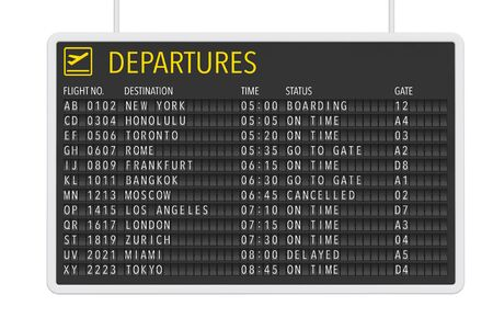 departures: Airport Departures Table on a white background