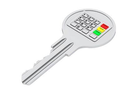 teclado num�rico: Key con teclado digital sobre un fondo blanco