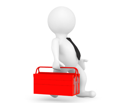 toolbox: 3d Person with Red Toolbox on a white background Stock Photo