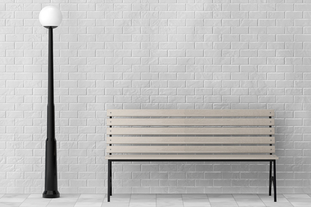 timber bench seat: Wooden Bench and Street Lamp against white brick wall extreme closeup Stock Photo