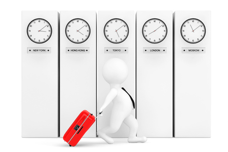 time zone: 3d Person with Suitcase in front of Columns with Time Zone Clocks showing different time