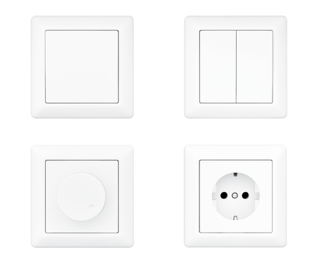 Power Socket, Dimmer and Light Switches set on a white background