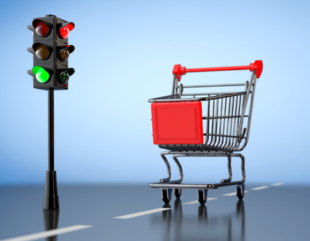inexpensive: Green Light for Shopping. Shopping Cart with Traffic Light on a blue background