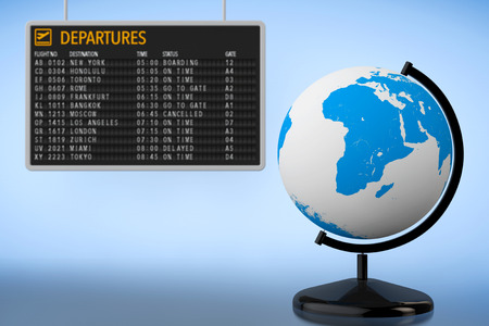departures: World Travel Concept. Airport Departures Board with Earth Globe on a blue background