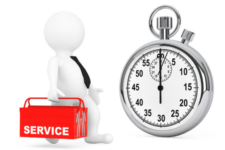 toolbox: Fast Service Concept. 3d Person with Red Toolbox and Stopwatch on a white background