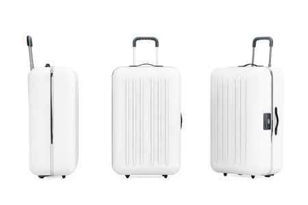 polycarbonate: Large White Polycarbonate Suitcases on a white background