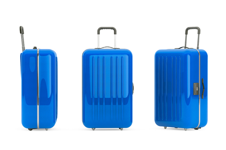 polycarbonate: Large Blue Polycarbonate Suitcases on a white background Stock Photo