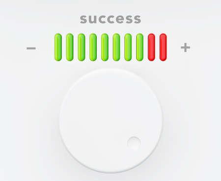knob: Control Knob with Success Progress Scale extreme closeup