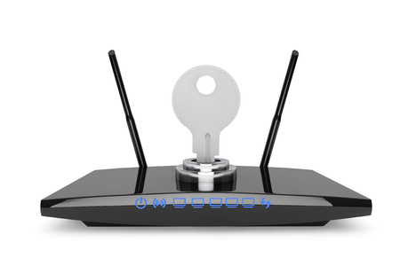 Wifi Security Concept. 3d Modern WiFi Router on a white background Stock Photo