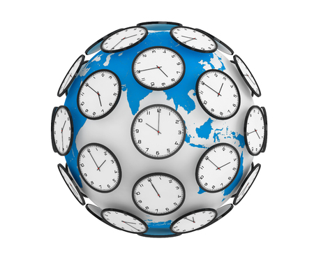 time zones: International Time Zones Concept. Modern Clocks around the Earth Globe World on a white background