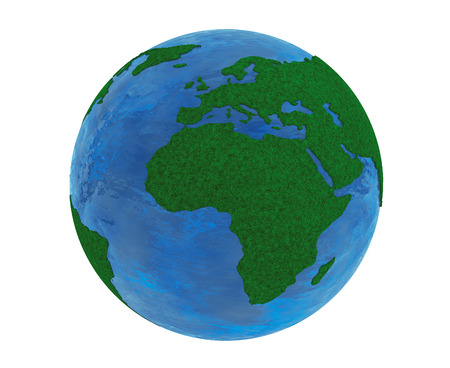 green planet: Green Planet Concept. Grass Earth Globe on a white background Stock Photo