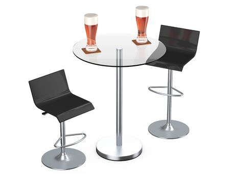 stools: Black Bar Vintage Stools with Table and Glasses of Beer on a white background
