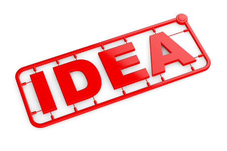 model kit: Plastic Model Kit with Idea Sign on a white background