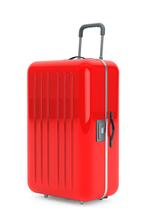 polycarbonate: Large Red Polycarbonate Suitcase on a white background