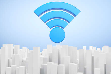 world receiver: WiFi Communication Abstract Town extreme closeup