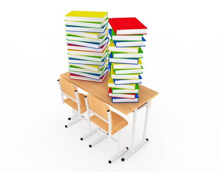 literary: Stack of Book over School Desk on a white background Stock Photo