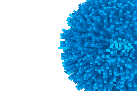 blue sphere: 3d Blocks as Abstract Blue Sphere on a white background
