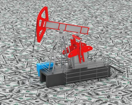 jack pump: Oil Jack Pump stands over heap of money extreme closeup