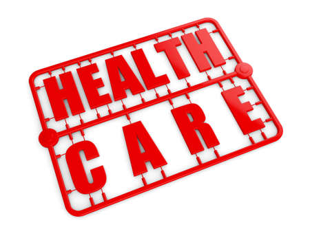 model kit: Plastic Model Kit with Health Care Sign on a white background