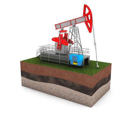 jack pump: Oil Jack Pump over Ground with Grass on a white background
