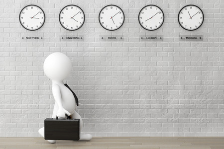 time zone: 3d Businessman running with a Briefcase in front of Time Zone Clocks and brick wall