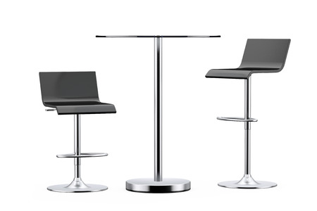 metal legs: Black Bar Vintage Stools with Table on a white background Stock Photo