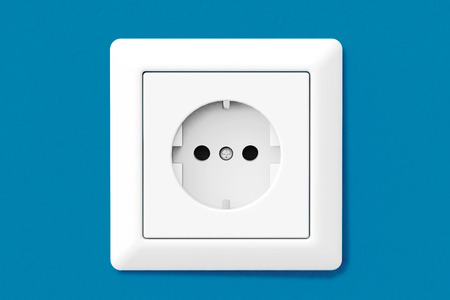 electric hole: Power Electric Socket on a blue wallpaper wall