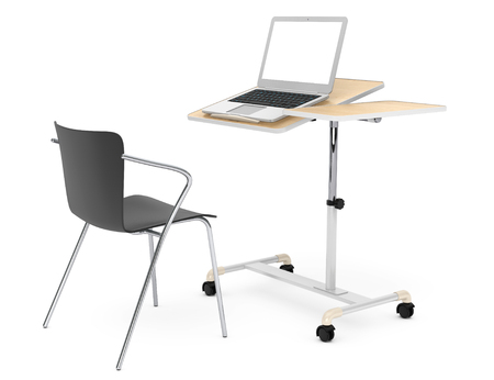 final college: Wooden School, Home and Office Laptop Desk with Chair on a white background