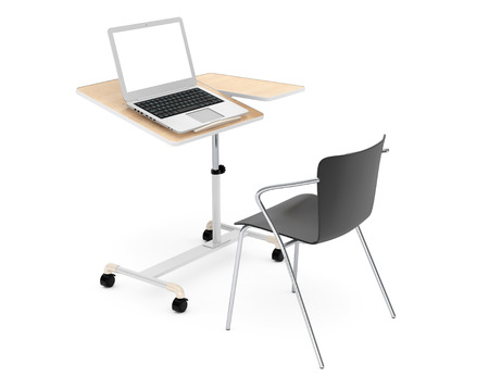 chair wooden: Wooden School, Home and Office Laptop Desk with Chair on a white background