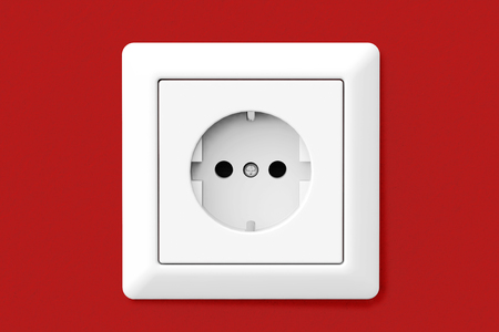 electric hole: Power Electric Socket on a red wallpaper wall
