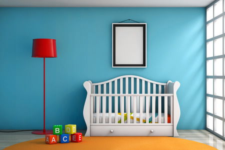 kidsroom: Children Room with Bed, Lamp and Blank Photo Frame extreme closeup Stock Photo